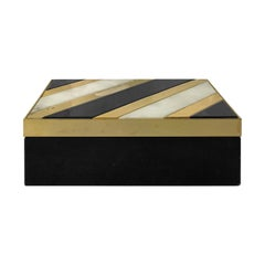 1970s Italian Alabaster and Black Stone Box with Brass Inlay
