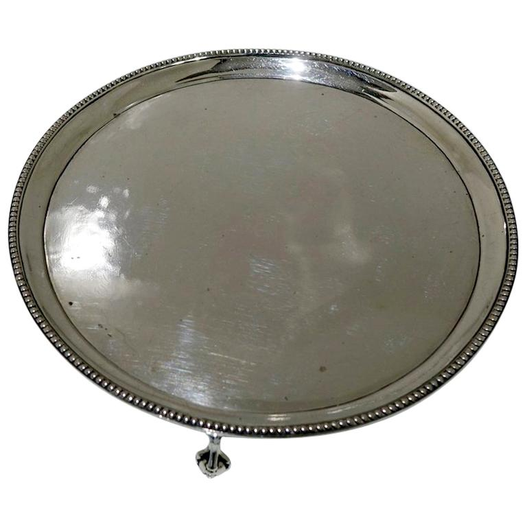 18th Century Antique George III Sterling Silver Salver London1783 Hester Bateman For Sale
