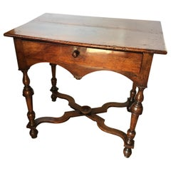 17th Century Charles II Walnut Table Joined by a Stretcher, Side Table