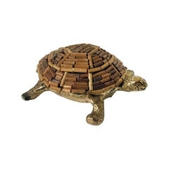 1970s Italian Brass and Bamboo Turtle Figurine
