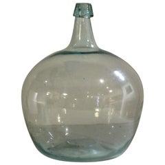 Antique Aqua Blown Glass Bulbous Form Demijohn