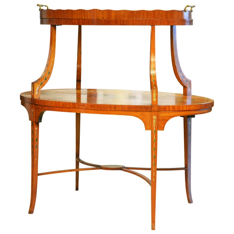 English Edwardian Two-Tier Decorated Satinwood Dessert Table with Lift Up Tray For Sale