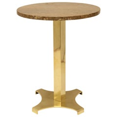 Midcentury Italian Brass and Marble Drink Table