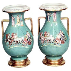 Pair of Grecian Style Glazed Porcelain Vases