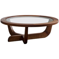 Clara Porset Modernist CP003 Coffee Table in Walnut and Glass by Luteca