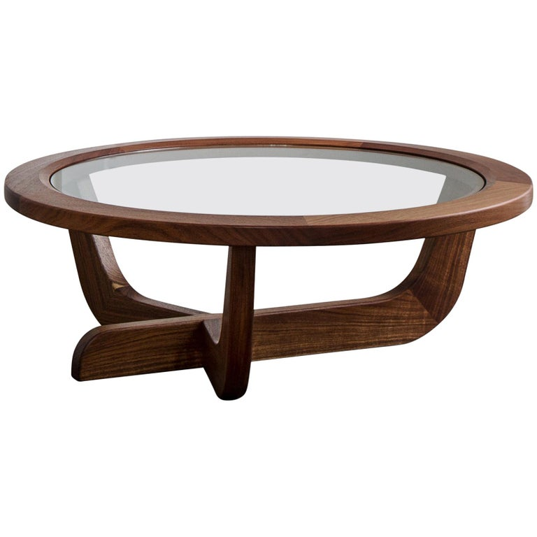 Clara Porset Modernist CP003 Solid Walnut and Glass Coffee Table by Luteca For Sale