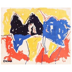 Vintage Yellow Black Red Blue Artist Jan Cremer Art Rug