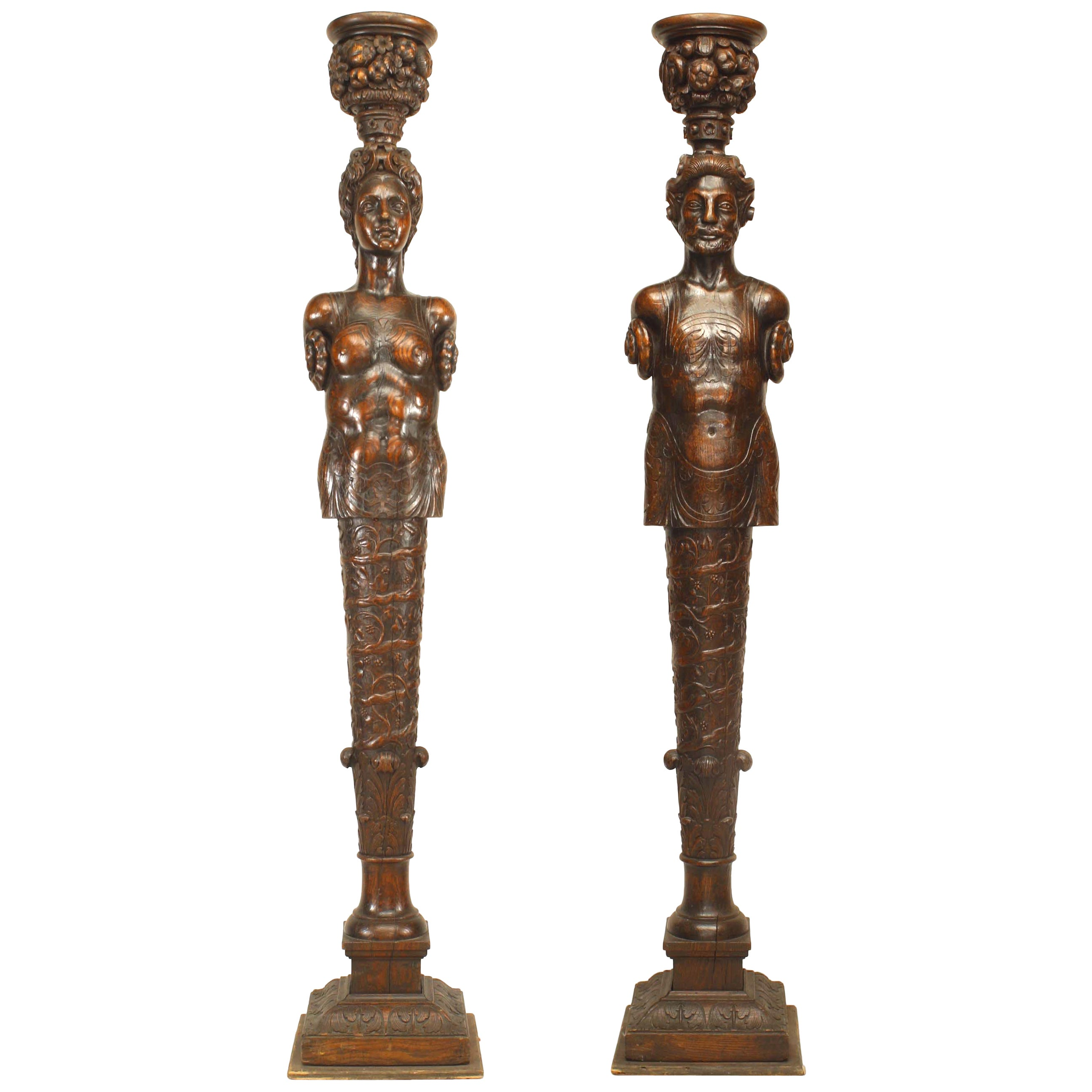 Pair of Italian Renaissance Style Carved Life-Size Pilaster Form