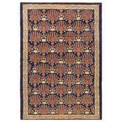 "Small Blue Judaica Antique Israeli Bezalel Menorah Rug. Size: 3' 6"" x 4' 10"""