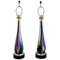 Mid-Century Modern Pair of Murano Glass Table Lamps Italian Red Blue Green 1960s