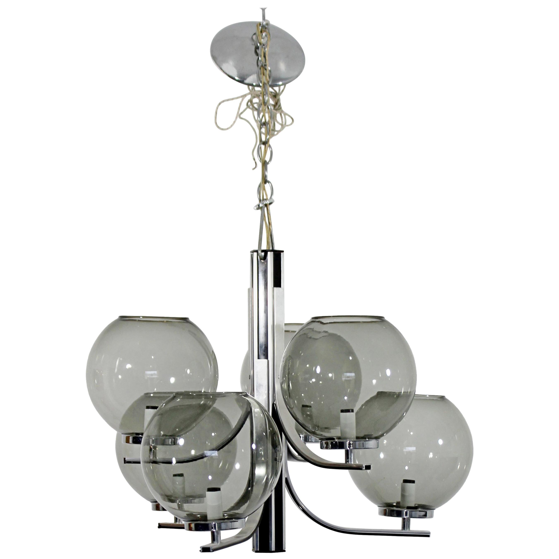 Mid-Century Modern Lightolier 6 Smoked Glass Globe Chrome Chandelier Fixture