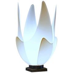 Large Midcentury Sculptural Blossoming White Tulip Lamp by Roger Rougier