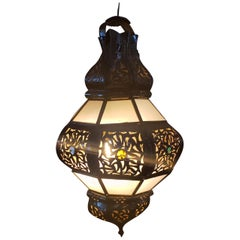 Moroccan Metal and Glass Lantern, Bok Style, Frosty White Glass