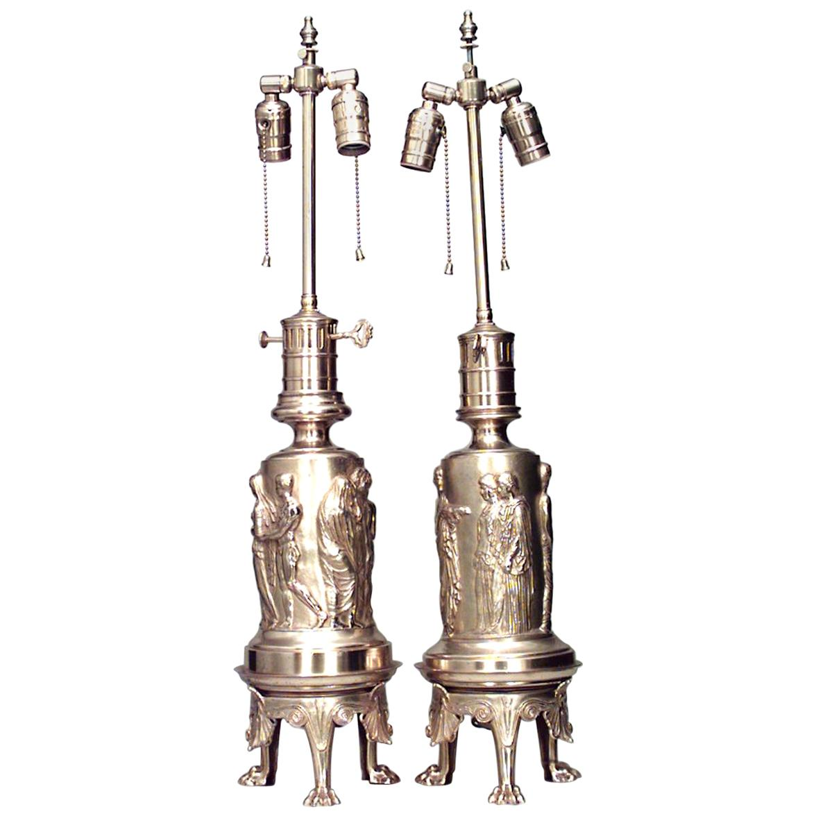 Pair of English Regency Style Bronze Dore Table Lamps