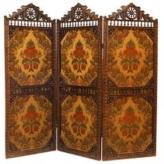 English Victorian Walnut Three-Fold Screen