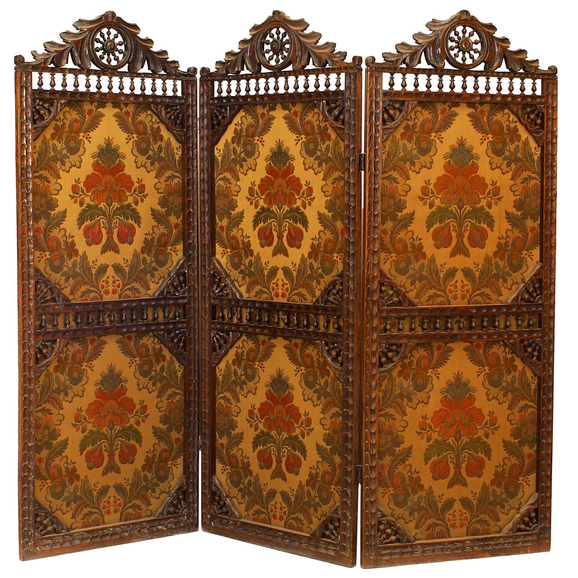 English Victorian Walnut Three-Fold Screen