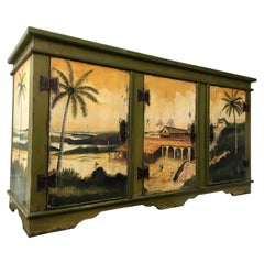 Artiero Brazil Tropical Palm Tree Hand Painted Cabinet