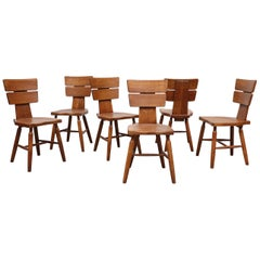 Set of 6 Pierre Chapo Inspired Brutalist Dining Chairs