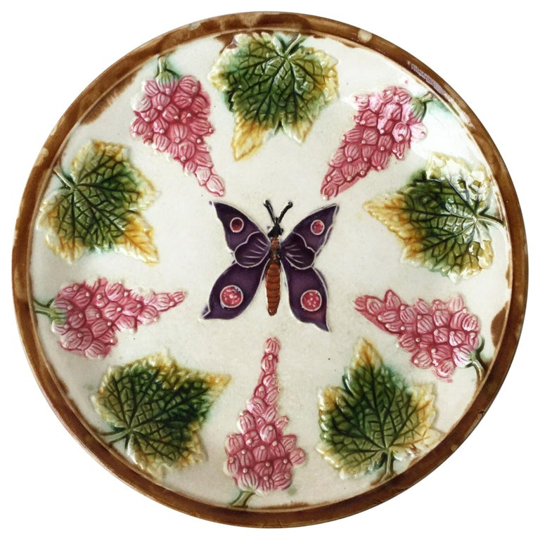 Majolica Plate with Butterfly and Fruits, circa 1890 For Sale
