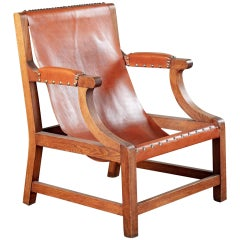 Open Armchair with Sling Leather Upholstery