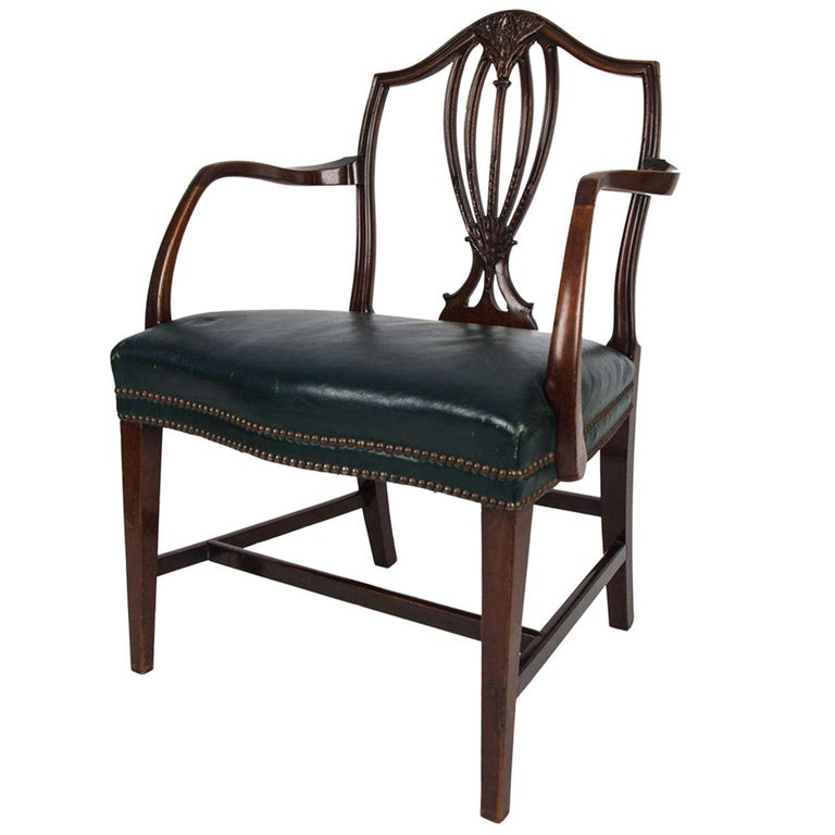 18th Century Hepplewhite Period Mahogany Armchair Green Leather Seat, circa 1785 For Sale
