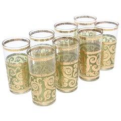 Set of 8 Signed Culver Mid-Century Modern Glass Barware