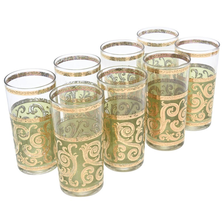 Set of 8 Signed Culver Mid-Century Modern Glass Barware For Sale