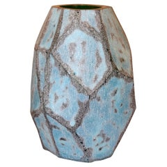 Peacock Blue Glass Vase, China, Contemporary
