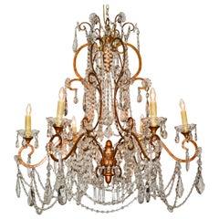 Italienischer vergoldeter Metall-Kronleuchter mit Perlen