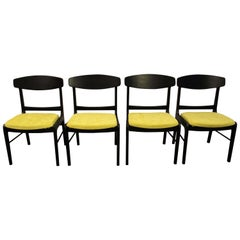 Set of Four Mid-Century Modern Ebonized 'Citron' Curved Back Dining Chairs