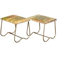 Pair of Midcentury Italian Brass Benches with Equestrian Themed Upholstery