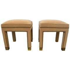 Pair of Stunning Parsons Style Camelhair Ottomans Benches