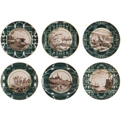 Set of Six Lebanon Porcelain Dinner Plates, Made in Italy