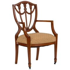 Pair of English Adam Style Satinwood Shield-Back Chairs