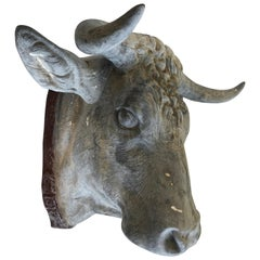 Amazing Rare 19th Century Zinc Bull Head
