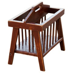 Vintage Country Wood Magazine Rack with Spindles