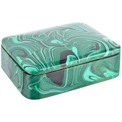 Faux Malachite Lidded Box
