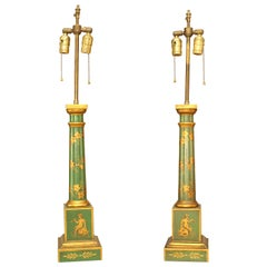 Pair of French Directoire Style Tole Floral Table Lamps
