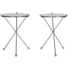 Maison Baguès Hollywood Regency Campaign Tables in Nickel