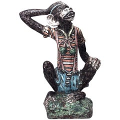 French Victorian Style Majolica Terracotta Monkey Figure