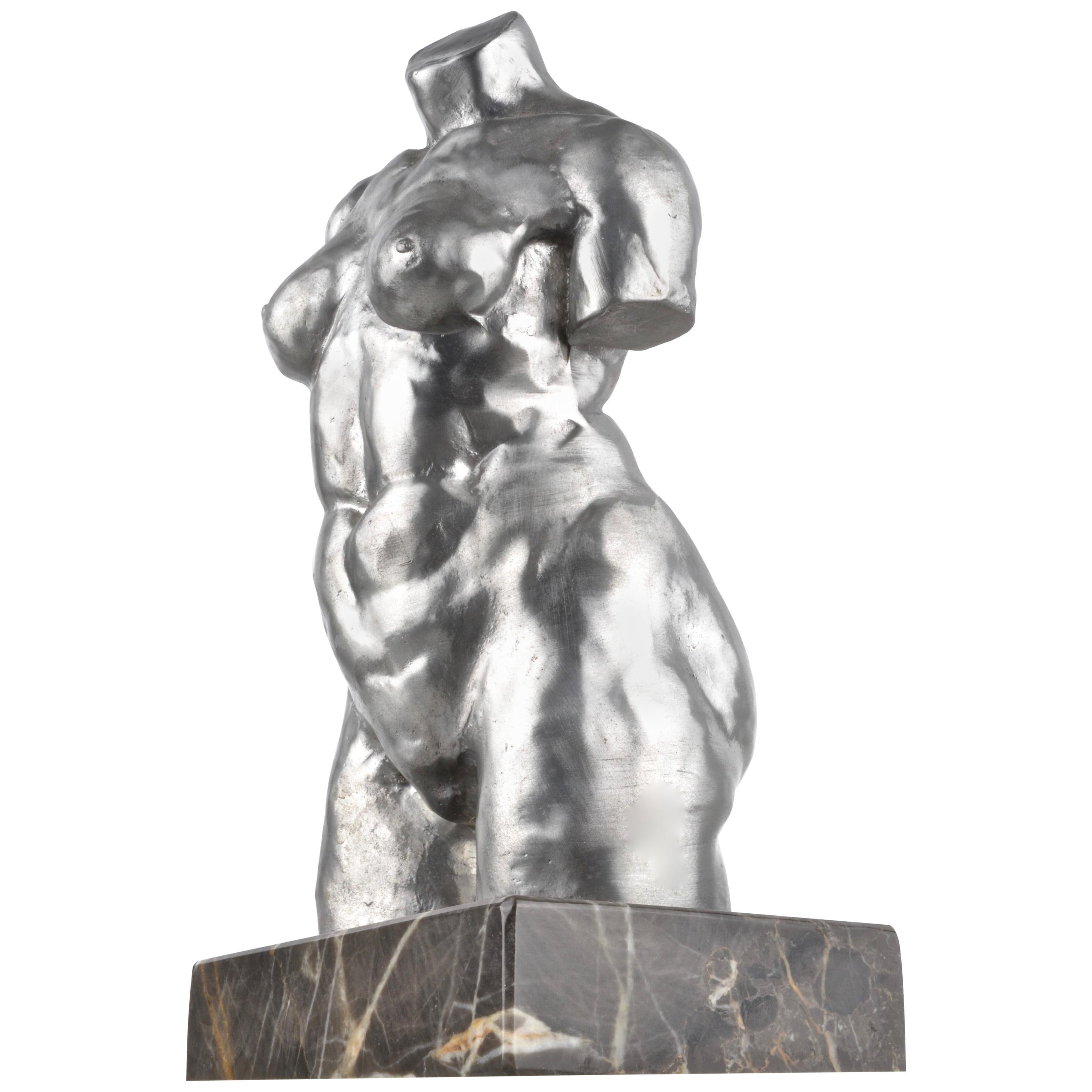 Signed Pewter Sculpture of Female Nude