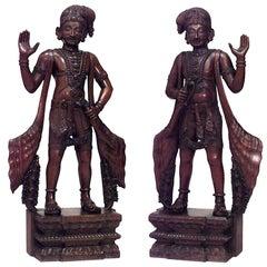 Pair of Asian Javanese Carved Teak Large Figures