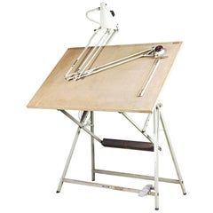 Dutch Industrial Drawing Table with Lamp and Drafting Machine by Rotanex, 1950s