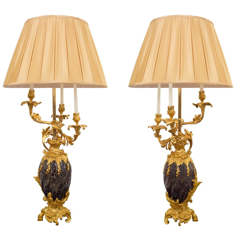 Pair of French 19th Century Ormolu and Marble Candelabra Mounted into Lamps For Sale