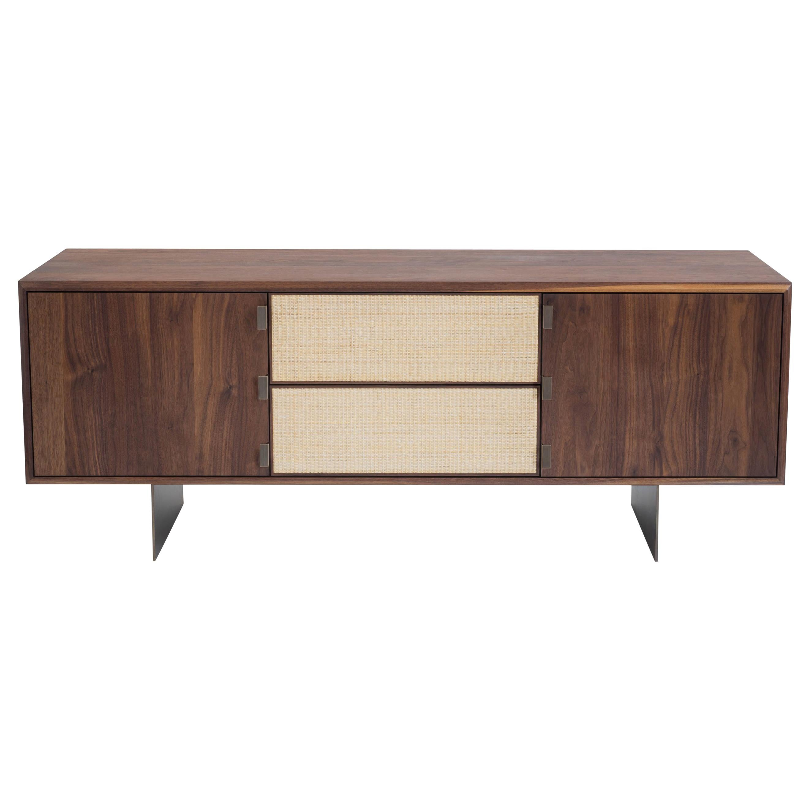 Handcrafted solid wood Augusto Credenza with rattan and bronze by LUTECA