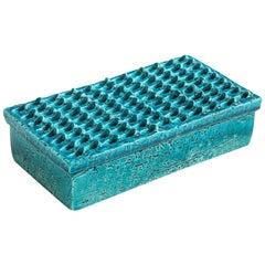 Bitossi Ceramic Box Blue Lidded Impressed Textured Pottery Signed Italy, 1960s