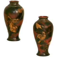 Pair of 19th Century Japanese Aesthetic Movement Mixed Metal Bronze Vases