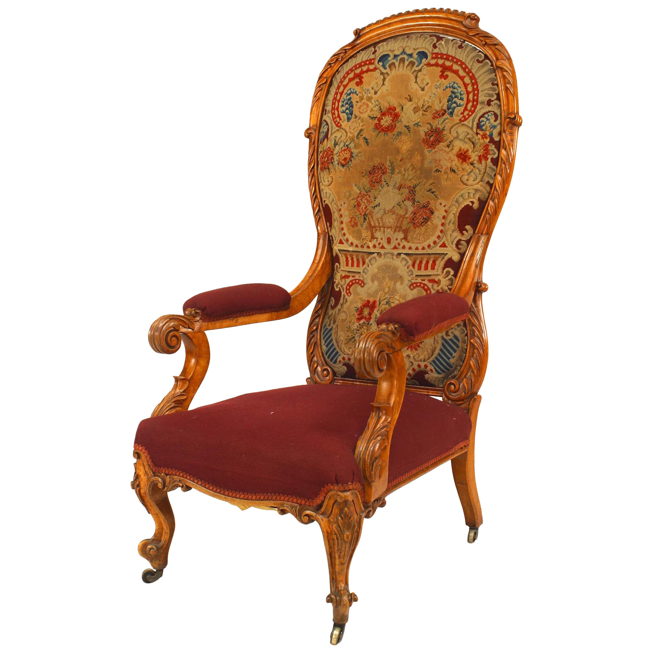 English Victorian Carved High Back Armchair