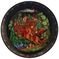 "Pushkin ""Ruslan & Ludmilla"" 18k Gold Collectors Fairy Tale Plate 1988, Russia"