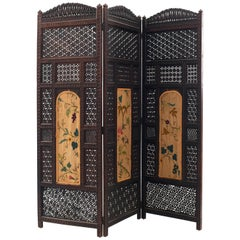 Middle Eastern Moorish Style Carved and Pierced Fold Screen
